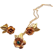 SALE 1950s Krementz Signed Petite Set Earrings and Pendant Necklace!