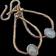 SALE 1970s Boho Opal Dangle Earrings Sterling Findings Classic Vintage!
