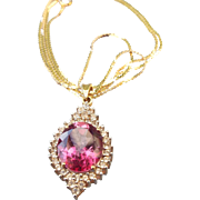 SALE PENDING 10k Gold Pink Tourmaline Fancy Pendant for Mother's Day 14k Gold Chain Included!