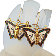 SALE Signed Amita Japanese Damaascene Butterfly Earrings for Pierced Ears!