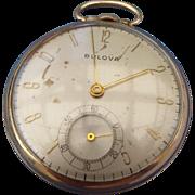 SALE 1940s Bulova Pocket Watch Gold Filled Case Runs Well Keeps Time!