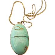 SALE PENDING Natural Turquoise Cabochon Pendant Necklace Early Century Rose Gold Frame Chain I