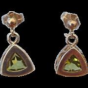 SALE Sterling Silver Peridot Gemstone Pierced Earrings August's Birthstone!