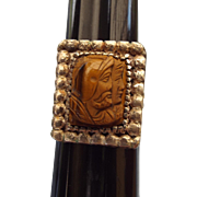 SALE Early Century Hardstone Cameo Men's Ring Carved Tiger Eye Silver Setting!