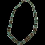 SALE Graduated Natural Peruvian Opal Gemstone Necklace 14k White Gold Clasp!