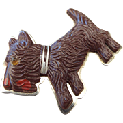 SALE 1930s Celluloid Scotty Dog Figural Pin, A Classic Vintage!