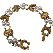 SALE Signed Goldette Victorian Revival Station Bracelet!