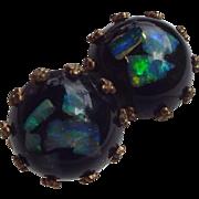 SALE 1940s Opal Embedded Lucite Earrings Wonderful Fire Opals From Australia!