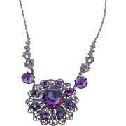 SALE Victorian Revival Amethyst Crystal Rhinestone Necklace and Earring Set, 12k Gold Fill ...