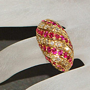 18K Ruby and Diamond Pave Channel Dome Ring -1960's