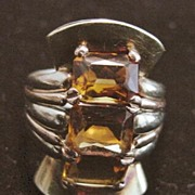 14K Retro Multi-colored  Gold Citrine  Cocktail Ring-1940's
