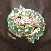 14K Emerald and Diamond By-Pass Ring -1980's