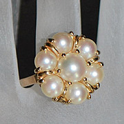 14K  Cultured Pearl Cocktail Ring - 1980's