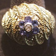 18K Italian Sapphire and Diamond Dinner  Ring -1960's