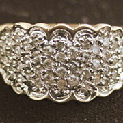 REDUCED 10K Pave Diamond Cocktail Ring - 1980's