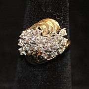 SALE 14K Retro Diamond Waterfall By-pass Cocktail Ring