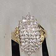 14K Diamond Pave Waterfall  Cocktail Ring - 1980's