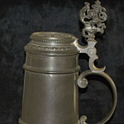 SALE Very Fine German 1L Pewter Covered Stein,c.1880