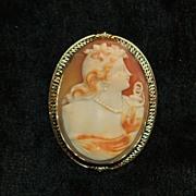 "SALE 14K Filigree  Large Cameo Brooch Depicting "" HOPE"" - 1910"