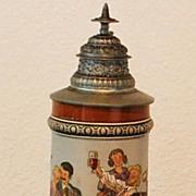 SALE Fine Hauber & Reuther 1/2L Lidded Stein,c.1900