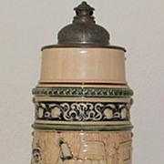 SALE German Hanke 3 Liter Stoneware Covered Stein,c.1895