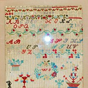 SALE Fancy American Alphabet Sampler, Dated 1867