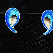 SALE Pair of Blue Guilloche Enamel and Sterling Earrings