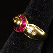 SALE 14K Buckle Style Ruby and Diamond Ring