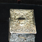 SALE Fancy English Victorian Sterling Silver Snuff Box, c. 1890