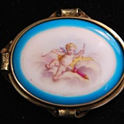 SALE French Large 19thC Cupid HP Porcelain Brooch,c. 1885