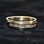 SALE Fine 14K Diamond Wedding Band - 1980's