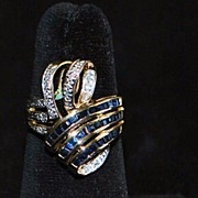 SALE 14K Sapphire and Diamond Large Bow Ring -1970's