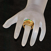 SALE 14K French Retro Emerald Dinner  Ring - 1960's