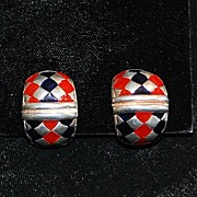 SALE Pair of Italian Flli Menegatti Sterling and Enamel Earrings