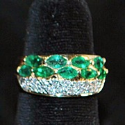 SALE 14K Emerald and Pave Diamond Band Ring - 1980's