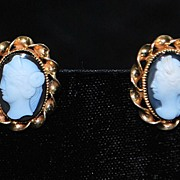 SALE Pair of Gold Cameo Earrings -  1910