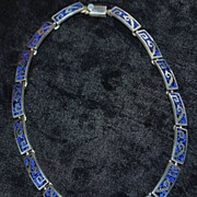 SALE Heavy  Mexican Sterling Inlaid Stone Necklace - 1980's