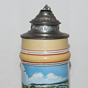 SALE German Porcelain Lithophane 1/2L Stein, c. 1900