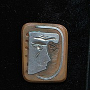 SALE Sterling and Bronze Picasso Style Wearable Art Brooch -  1960's