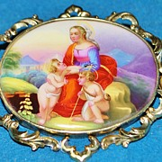SALE Large Victorian  German Hand Painted Classical Brooch, c. 1885
