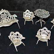 SALE Dutch 19th C Miniature Silver Parlor Suite - Doll House