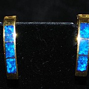 SALE Pair of 18K Inlaid Lapis and Gold Earrings - 1960's