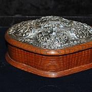 SALE English Edwardian Sterling & Wood Jewelry Box,c.1904