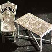 SALE Dutch Miniature Silver Table and Chair, c. 1895 - Doll House