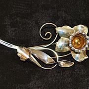 SALE Large Sterling  Glam Floral  Brooch - 1940's