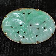 14K Chinese Carved Jade Brooch, c. 1920