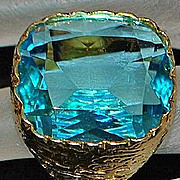 14K Large Custom 20ct Blue Labradorite Signet Ring - 1980's