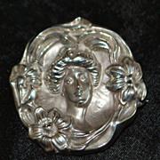 Art Nouveau Sterling Silver Figural Brooch -  1910