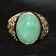 SOLD 14K Man's Green Jade Signet Ring - 1970's