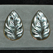 Pair of Large Lalique  France Leaf Earrings - 1980's